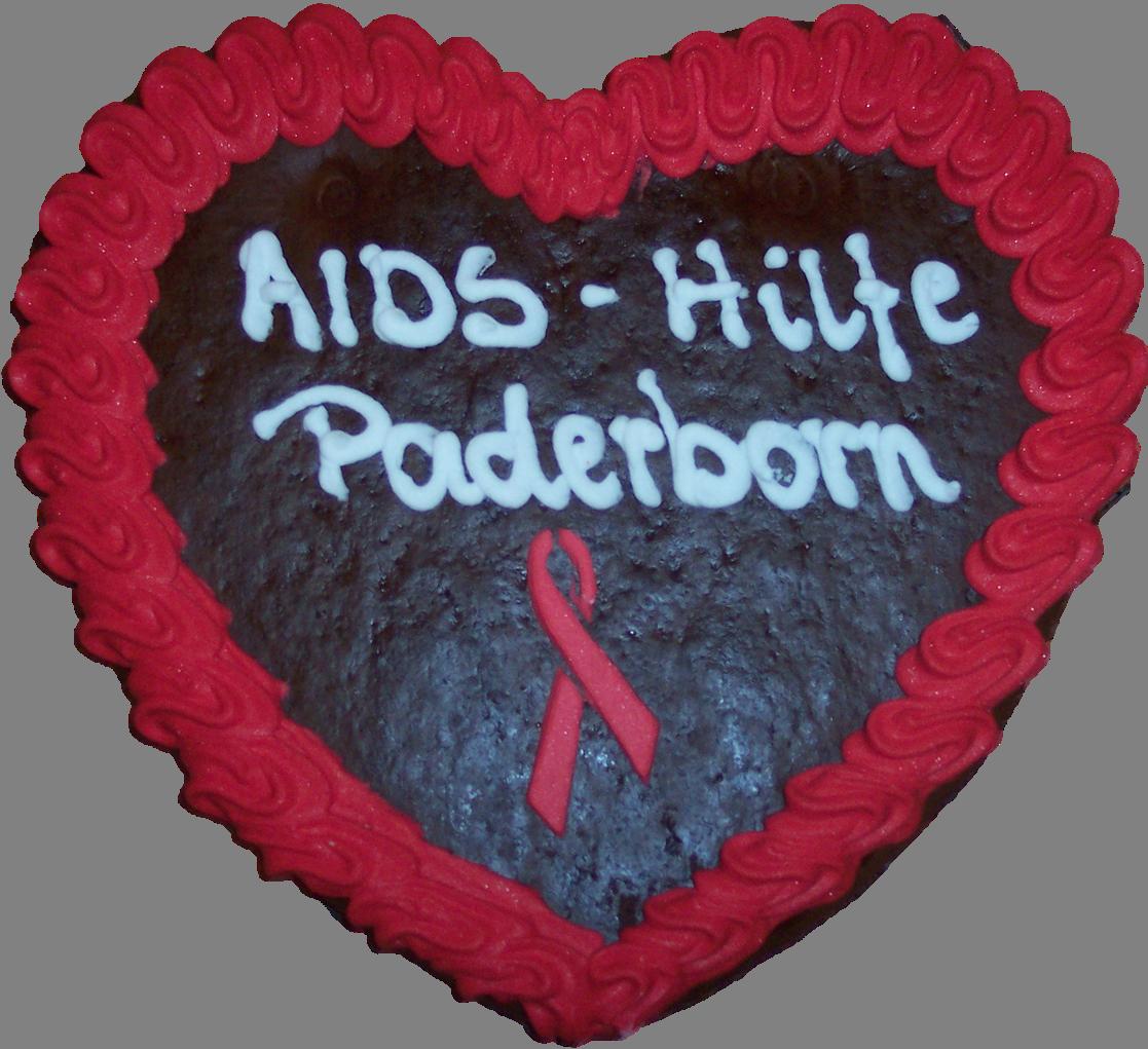Lebkuchenherz mit Aufschrift AIDS-Hilfe Paderborn