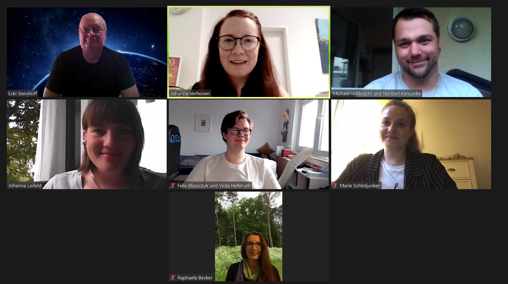 Screenshot mit den Mitgliedern des Vorstands